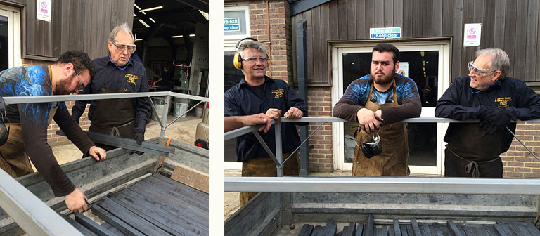 Loading the steel at Plumpton College (Ricky and Tony flanking a student drafted in to help)
