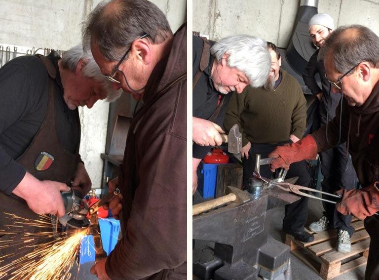 Left: Adjusting the tooling.    Right:  Demonstrating the process with Luc acting as a large child!
