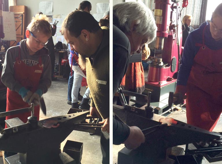 Left: A German blacksmith making his first children's poppy.    Right Petal texturing.