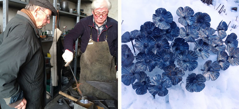 Left: The local retired village blacksmith looks on as a poppy is quenched..    Right: German poppies in the snow outside the forge.
