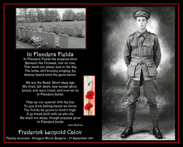 Frederick Leopold Calov, fatally wounded Polygon Wood, Belgium 27 September 1917