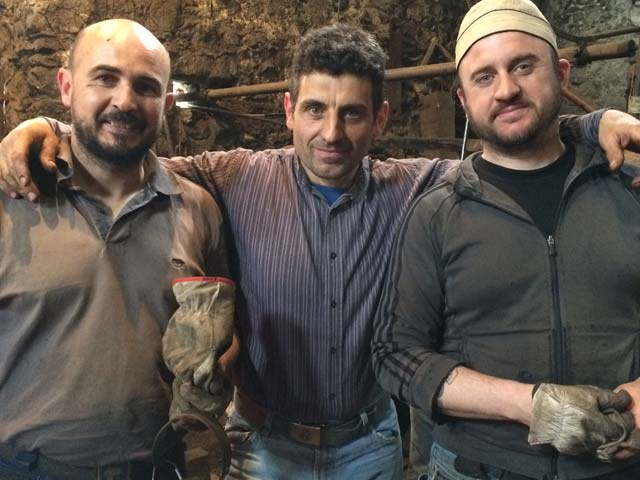 Paolo, Nicola and Devis the traditional bucket makers at Bienno.
